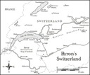 Map showing places visited by Byron in Switzerland.
