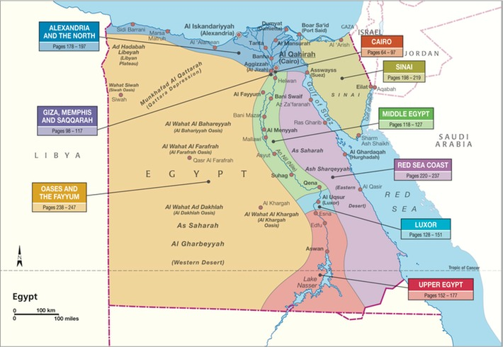 Map of Egypt showing regions of the country.