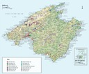 Tourist map of Mallorca showing recommended tours of the island.
